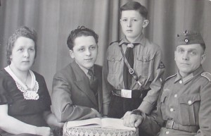 Eberhard Wendler (second from left) with his parents and younger brother Gert (in Hitler Youth uniform)