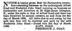 From The London Gazette, 13 March 1896 John Frederick Goad